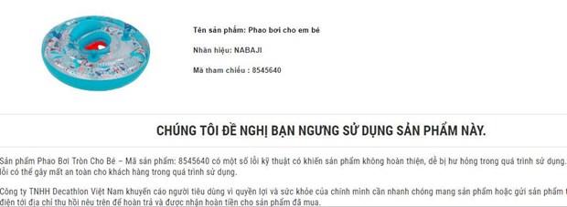 Decathlon thu hoi san pham Phao boi tron cho be do loi ky thuat hinh anh 1