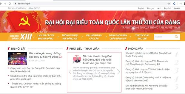TTXVN ra mat trang thong tin dac biet ve Dai hoi Dang lan thu XIII hinh anh 1