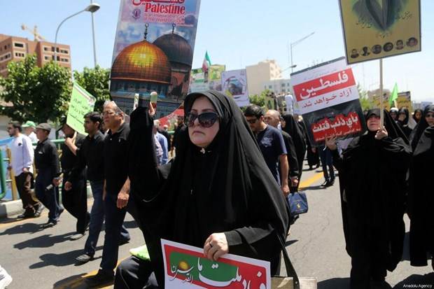 Hang chuc nghin nguoi Iran va Iraq tuan hanh ung ho Palestine hinh anh 1