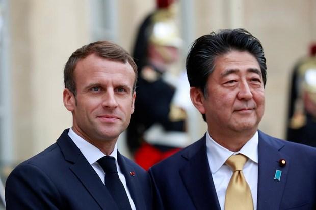 Tong thong Macron hoi dam voi Thu tuong Abe, cong bo ke hoach hop tac hinh anh 1