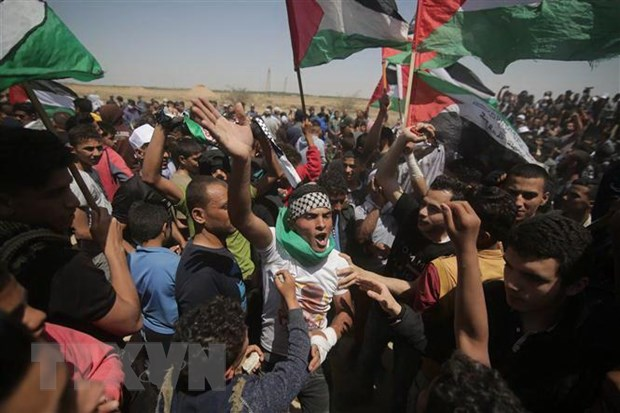 Nguoi Palestine bieu tinh phan doi ke hoach hoa binh Trung Dong hinh anh 1