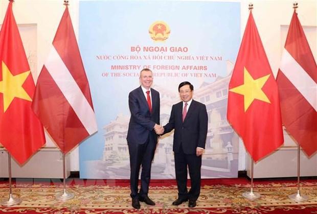Pho Thu tuong Pham Binh Minh hoi dam voi Bo truong Ngoai giao Latvia hinh anh 1