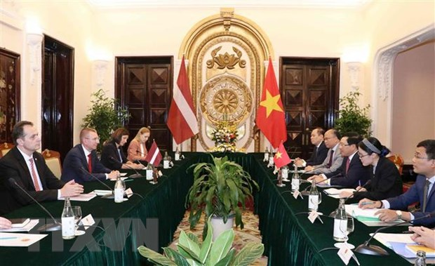 Pho Thu tuong Pham Binh Minh hoi dam voi Bo truong Ngoai giao Latvia hinh anh 2
