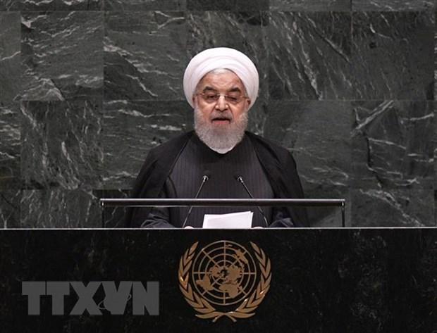 Tổng thống Iran Hassan Rouhani phát biểu tại Khóa họp 74 Đại hội đồng Liên hợp quốc ở New York (Mỹ) ngày 25-9-2019. Nguồn: THX/TTXVN