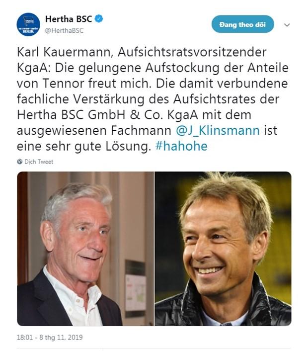 Huyen thoai Klinsmann tham gia vao hoi dong quan tri cua Hertha Berlin hinh anh 2