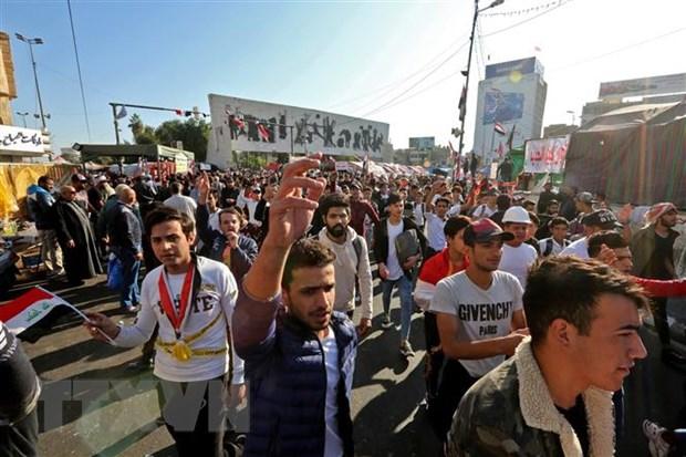 Người biểu tình tập trung tại quảng trường Tahrir ở Baghdad, Iraq, ngày 19-11-2019. Nguồn: AFP/TTXVN
