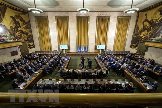 Toàn cảnh cuộc họp các thành viên Ủy ban Hiến pháp Syria tại Geneva, Thụy Sĩ, ngày 30/10/2019. Nguồn: AFP/TTXVN