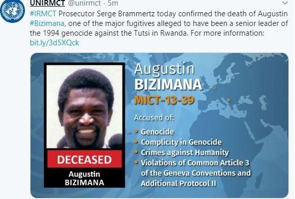 ICC xac nhan toi pham chien tranh bi truy na Augustin Bizimana da chet hinh anh 1
