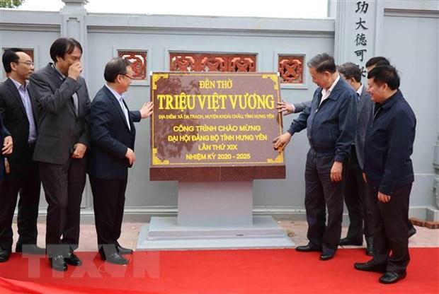 Tuong To Lam du le gan bien cong trinh mung Dai hoi Dang bo Hung Yen hinh anh 1