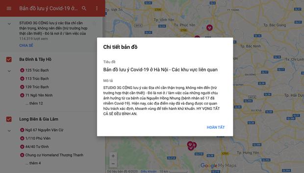 Ban do dich COVID-19 tai Ha Noi tren Google Maps gay hoang mang hinh anh 2