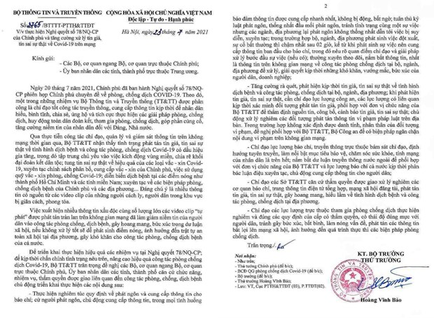 Bo Thong tin Truyen thong ban hanh cong van xu ly tin gia ve COVID-19 hinh anh 3