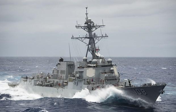 Trong ảnh (tư liệu): Tàu USS Wayne E. Meyer của Hải quân Mỹ tại Thái Bình Dương ngày 19-6-2017. Ảnh: AFP/ TTXVN