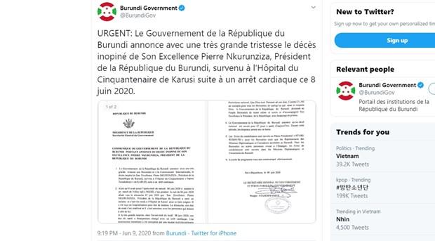 Tong thong Burundi Pierre Nkurunziza qua doi do dot quy o tuoi 56 hinh anh 1