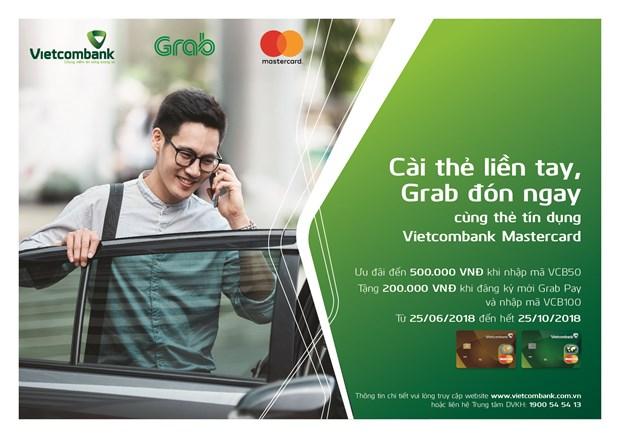 Dung the Vietcombank Mastercard thanh toan Grab nhan nhieu uu dai hinh anh 1