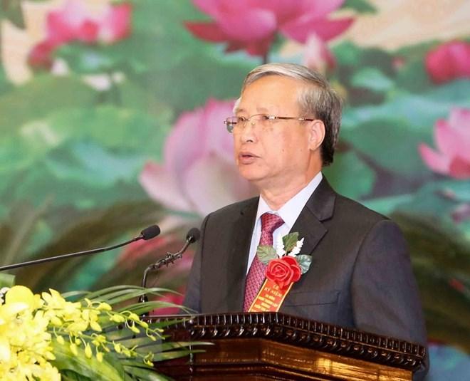 Ông Trần Quốc Vượng, Ủy viên Bộ Chính trị, Thường trực Ban Bí thư phát biểu tại buổi lễ. (Ảnh: Phương Hoa/TTXVN)