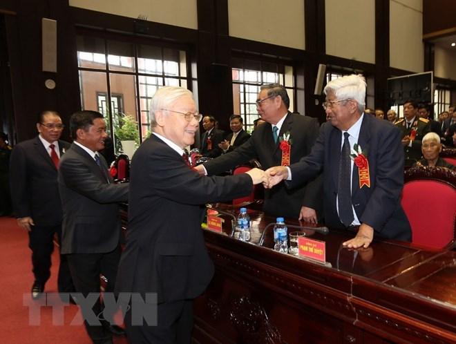 Tổng Bí thư Nguyễn Phú Trọng đến dự Lễ kỷ niệm. (Ảnh: Trí Dũng/TTXVN)