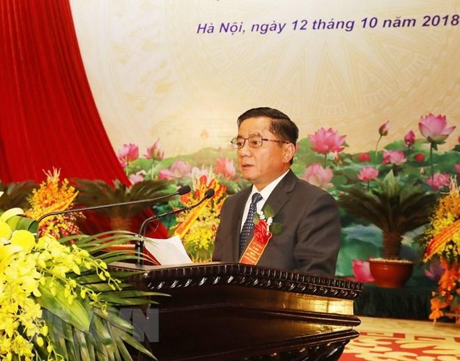 Ông Trần Cẩm Tú, Bí thư Trung ương Đảng, Chủ nhiệm Ủy ban Kiểm tra Trung ương đọc Diễn văn tại Lễ kỷ niệm. (Ảnh: Phương Hoa/TTXVN)