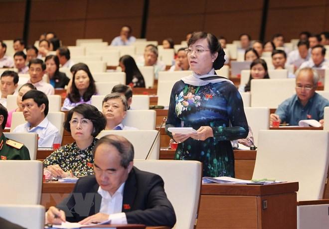 Đại biểu Quốc hội Thành phố Hồ Chí Minh Nguyễn Thị Quyết Tâm phát biểu.  (Ảnh: Lâm Khánh/TTXVN)