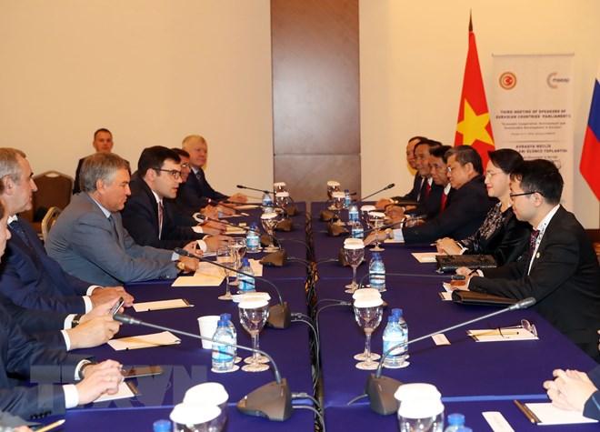 Chủ tịch Quốc hội NguyễnThị Kim Ngân hội kiến với Chủ tịch Duma Quốc gia Nga Vyacheslav Volodin. (Ảnh: Trọng Đức/TTXVN)
