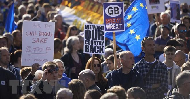 Tuần hành quy mô lớn nhất từ trước tới nay nhằm yêu cầu Chính phủ tổ chức trưng cầu ý dân về các điều khoản Brexit tại London, Anh ngày 20-10-2018. Nguồn: AFP/TTXVN