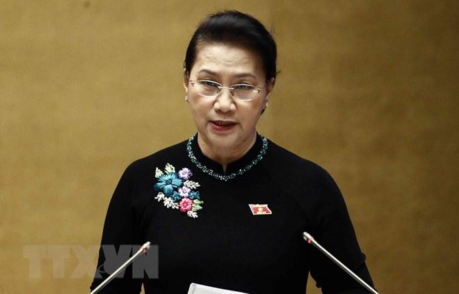 Chủ tịch Quốc hội Nguyễn Thị Kim Ngân phát biểu kết luận phiên chất vấn và trả lời chất vấn. (Ảnh: Văn Điệp/TTXVN)