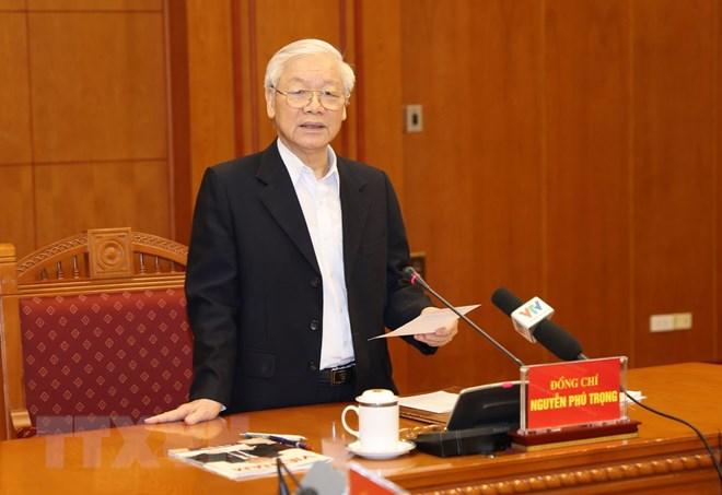 Tổng Bí thư, Chủ tịch nước Nguyễn Phú Trọng, Trưởng Ban Chỉ đạo Trung ương về phòng, chống tham nhũng phát biểu kết luận cuộc họp. Ảnh: Trí Dũng/TTXVN