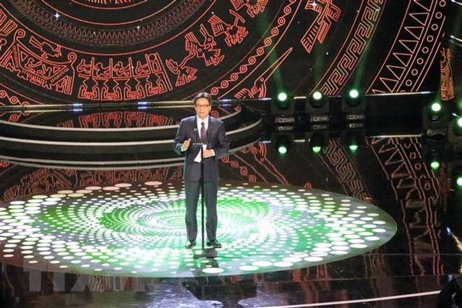 Phó Thủ tướng Vũ Đức Đam phát biểu tại Liên hoan truyền hình toàn quốc lần thứ 38. Ảnh: Chu Quốc Hùng-TTXVN