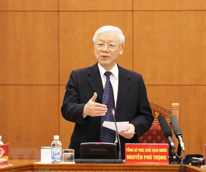 Tổng Bí thư, Chủ tịch nước Nguyễn Phú Trọng, Trưởng Tiểu ban phát biểu kết luận phiên họp. Ảnh: Phương Hoa/TTXVN