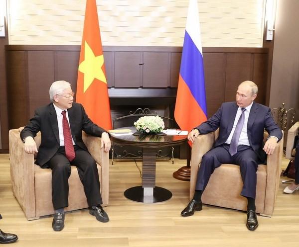 Tổng Bí thư Nguyễn Phú Trọng hội đàm với Tổng thống Liên bang Nga Vladimir Putin. (Ảnh: Trí Dũng/TTXVN)