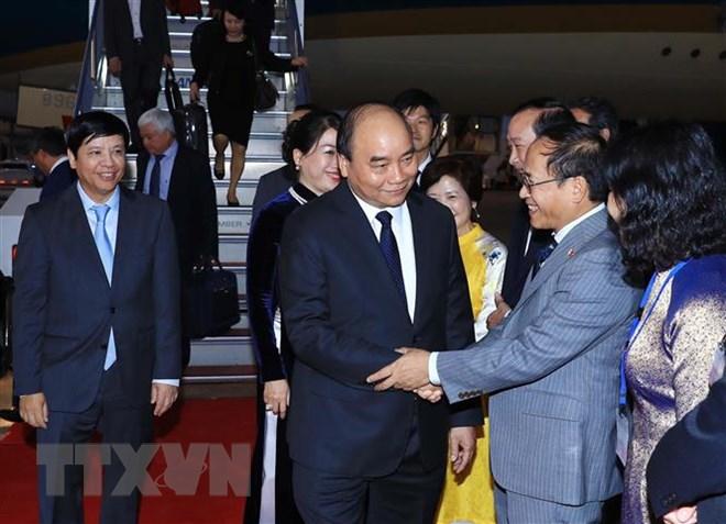 Lễ đón Thủ tướng Nguyễn Xuân Phúc và Phu nhân tại sân bay quốc tế Haneda, Tokyo. Ảnh: Thống Nhất/TTXVN