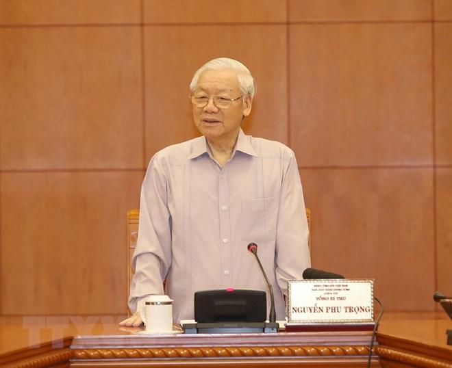 Tổng Bí thư, Chủ tịch nước Nguyễn Phú Trọng phát biểu. Ảnh: Trí Dũng/TTXVN
