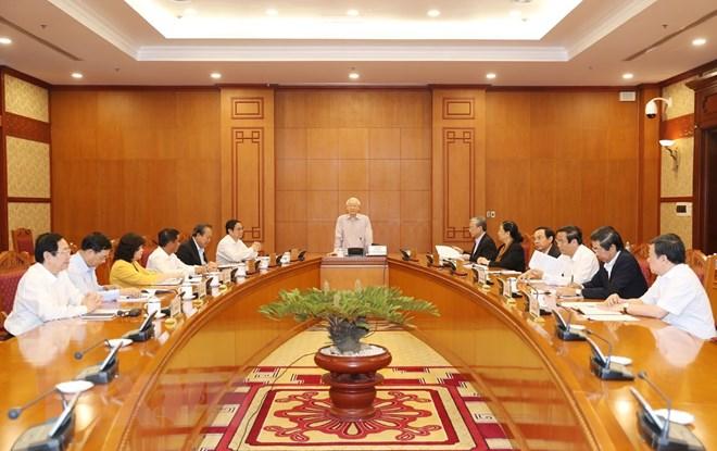 Tổng Bí thư , Chủ tịch nước Nguyễn Phú Trọng phát biểu chỉ đạo cuộc họp. Ảnh : Trí Dũng/TTXVN