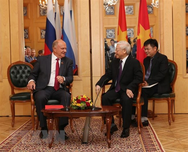 Tổng Bí thư Nguyễn Phú Trọng tiếp Chủ tịch Đảng Cộng sản Liên bang Nga Gennady Ziuganov. (Ảnh: Trí Dũng/TTXVN)