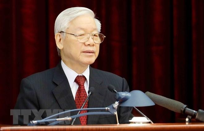 Tổng Bí thư Nguyễn Phú Trọng phát biểu khai mạc Hội nghị Trung ương 8. (Ảnh: Trí Dũng/TTXVN)