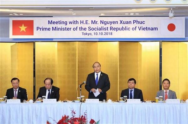 Thủ tướng Nguyễn Xuân Phúc phát biểu tại buổi làm việc với một số tập đoàn của Nhật Bản. Ảnh: Thống Nhất/TTXVN