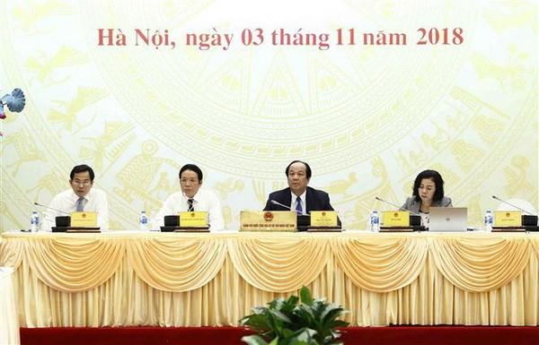 Bộ trưởng, Chủ nhiệm Văn phòng Chính phủ Mai Tiến Dũng (thứ hai bên trái) chủ trì buổi họp báo. Ảnh: Văn Điệp/TTXVN