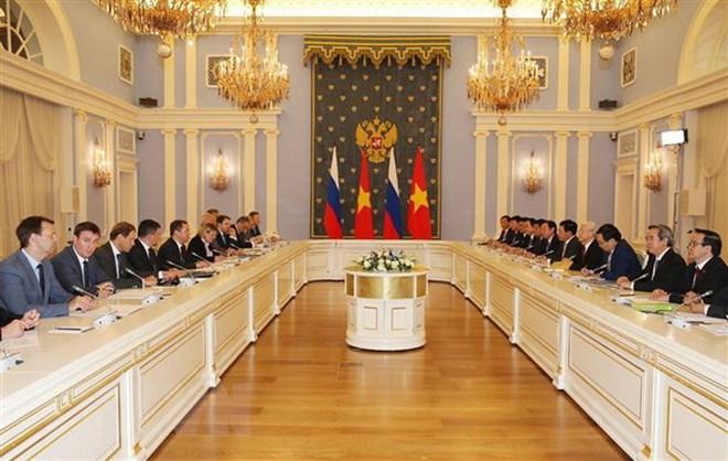 Tổng Bí thư Nguyễn Phú Trọng hội kiến với Thủ tướng Liên bang Nga Dmitry Medvedev. (Ảnh: Trí Dũng/TTXVN)