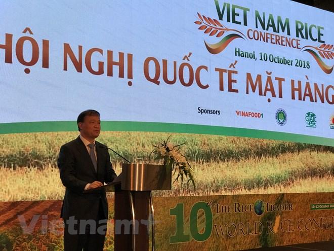 Thứ trưởng Đỗ Thắng Hải phát biểu tại Hội nghị quốc tế mặt hàng gạo Việt Nam tổ chức tại Hà Nội. Ảnh: Đức Duy/Vietnam+