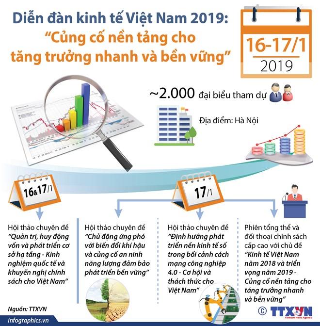 [Infographics] 2.000 đại biểu tham dự Diễn đàn kinh tế Việt Nam 2019 - ảnh 1