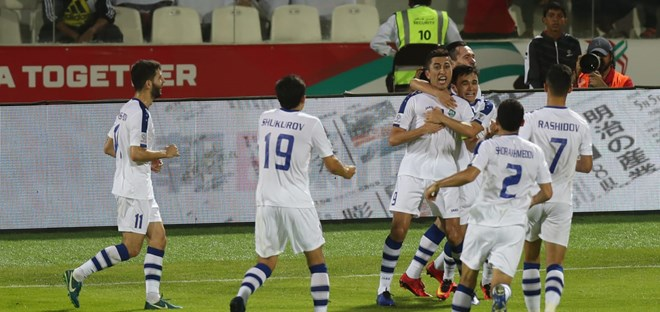 Niềm vui của các cầu thủ Uzbekistan. (Nguồn: AFC)