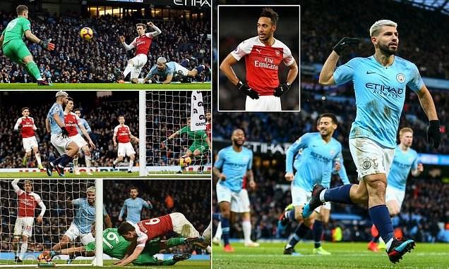 Aguero giúp Man City hạ gục Arsenal. (Nguồn: Daily Mail)