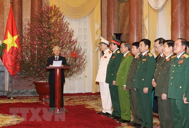 Tổng Bí thư, Chủ tịch nước Nguyễn Phú Trọng phát biểu tại Lễ trao Quyết định phong quân hàm Đại tướng cho các đồng chí Tô Lâm, Lương Cường. (Ảnh: Trí Dũng/TTXVN)
