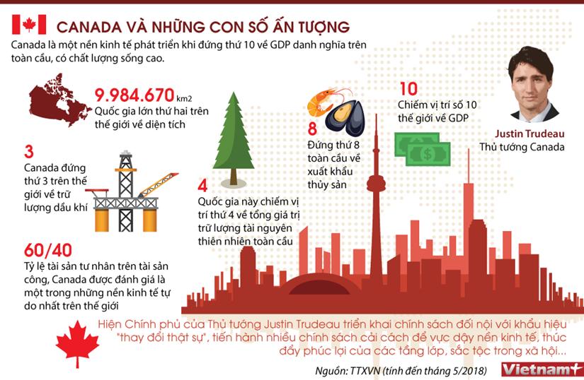 [Infographics] Nhung con so an tuong ve nen kinh te Canada hinh anh 1