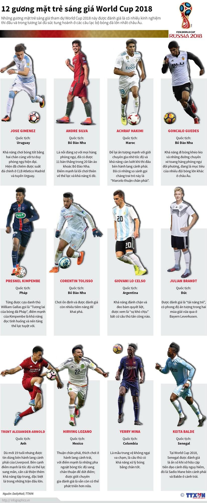 """[Infographics] """"Diem danh"""" 12 guong mat sang gia tai World Cup 2018 hinh anh 1"""