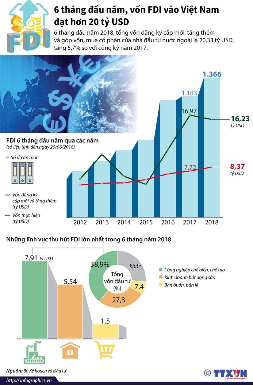 [Infographics] Von FDI vao Viet Nam dat hon 20 ty USD trong 6 thang hinh anh 1
