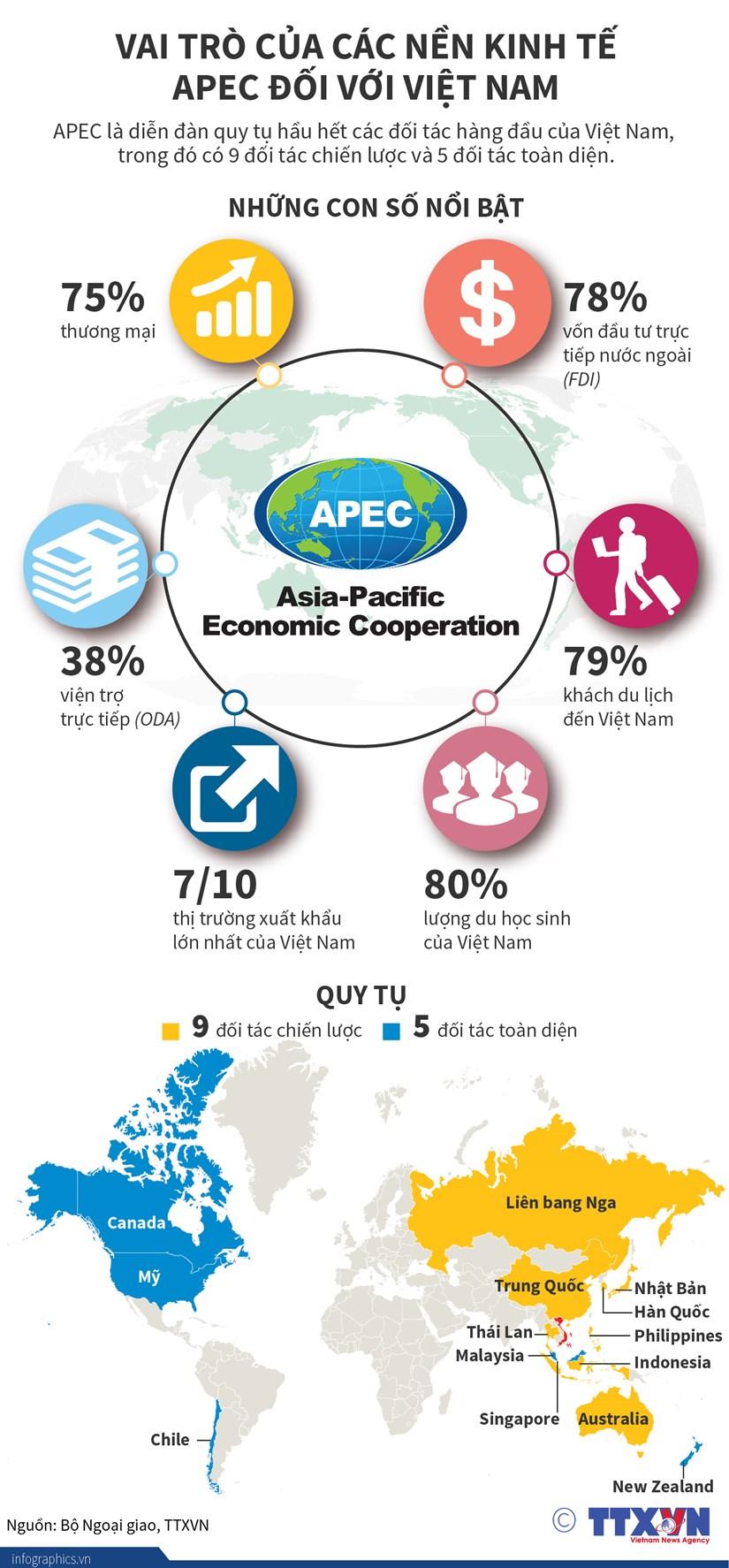 [Infographics] Vai tro cua cac nen kinh te APEC doi voi Viet Nam hinh anh 1