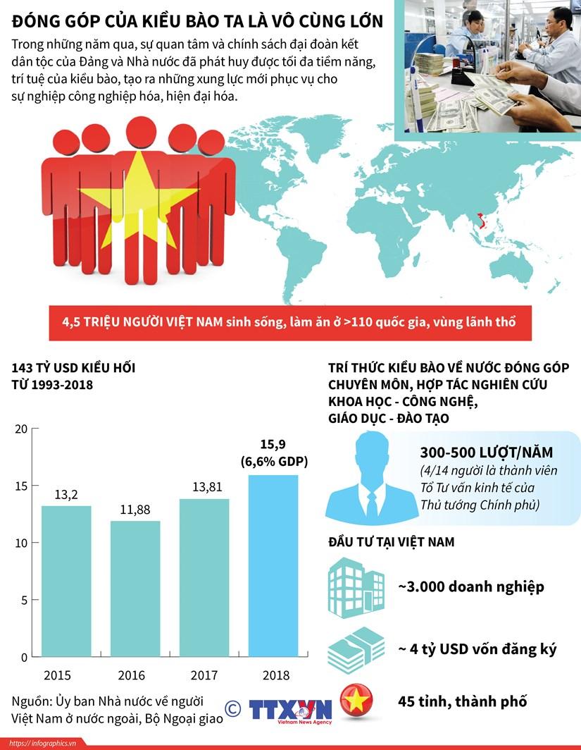 [Infographics] Nhung dong gop to lon cua kieu bao voi dat nuoc hinh anh 1