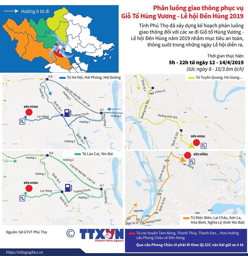 Phan luong giao thong phuc vu Gio To Hung Vuong-Le hoi Den Hung hinh anh 1