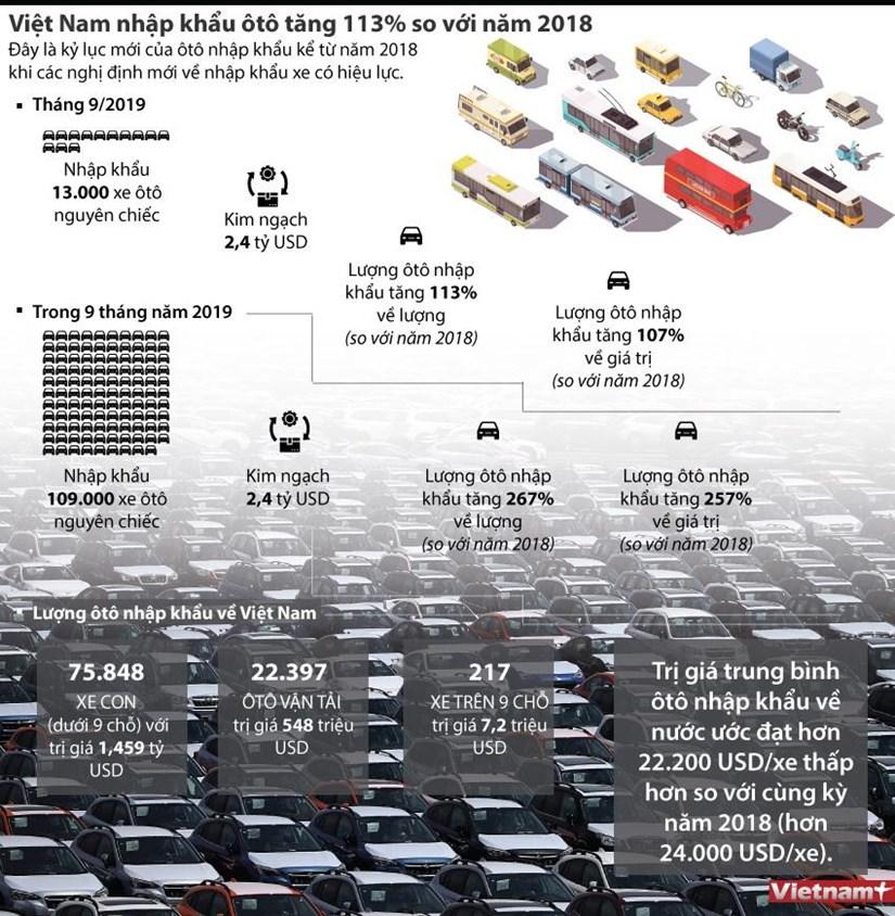 [Infographics] Viet Nam nhap khau oto tang 113% so voi nam 2018 hinh anh 1