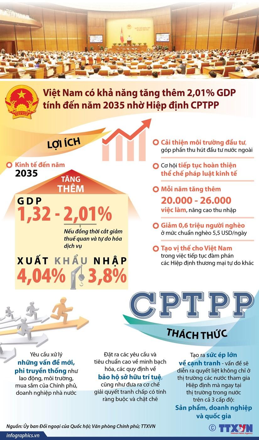 [Infographics] Quoc hoi thong qua Nghi quyet phe chuan CPTPP hinh anh 1